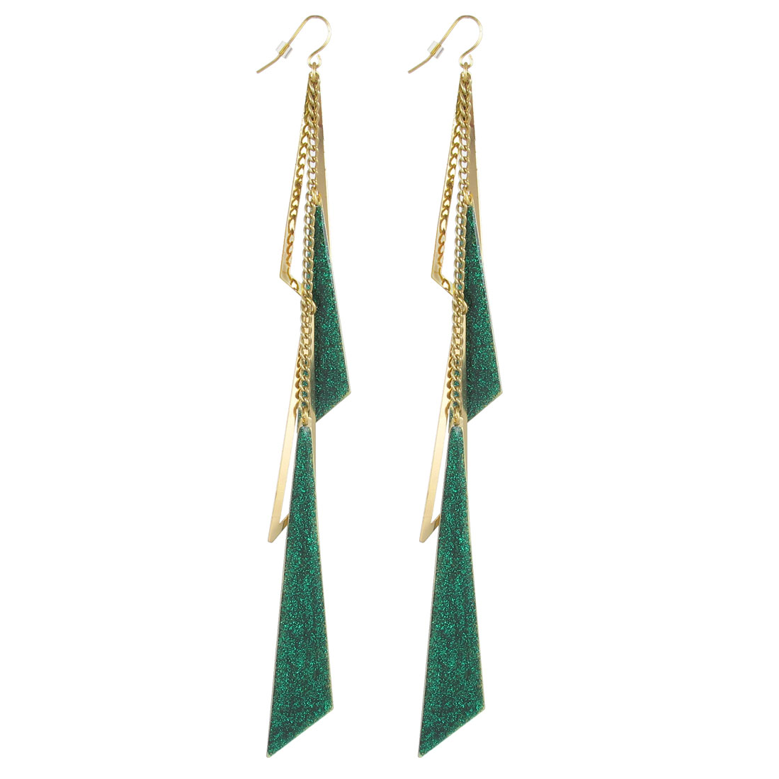 "7.3"" Length Copper Tone Green Metal Plastic Triangle Shape Glittery Smooth Surface Dangling Pendants Hook Earrings Earbobs Pair for Lady Women"