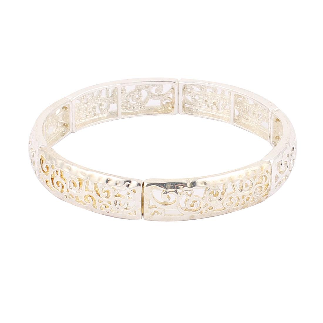 "2.4"" Dia Silver Tone Light Yellow Metal Round Circle Shape Wrist Decoration Bracelet Bangle for Lady Women"