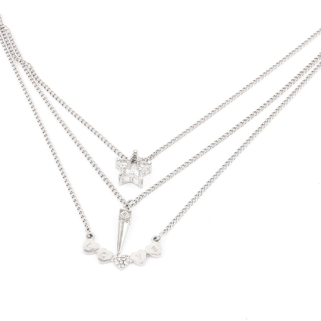 Ladies Women Metal Lobster Buckle Strip Link Three Layers Slim Chain Necklace Neckwear Collar Silver Tone