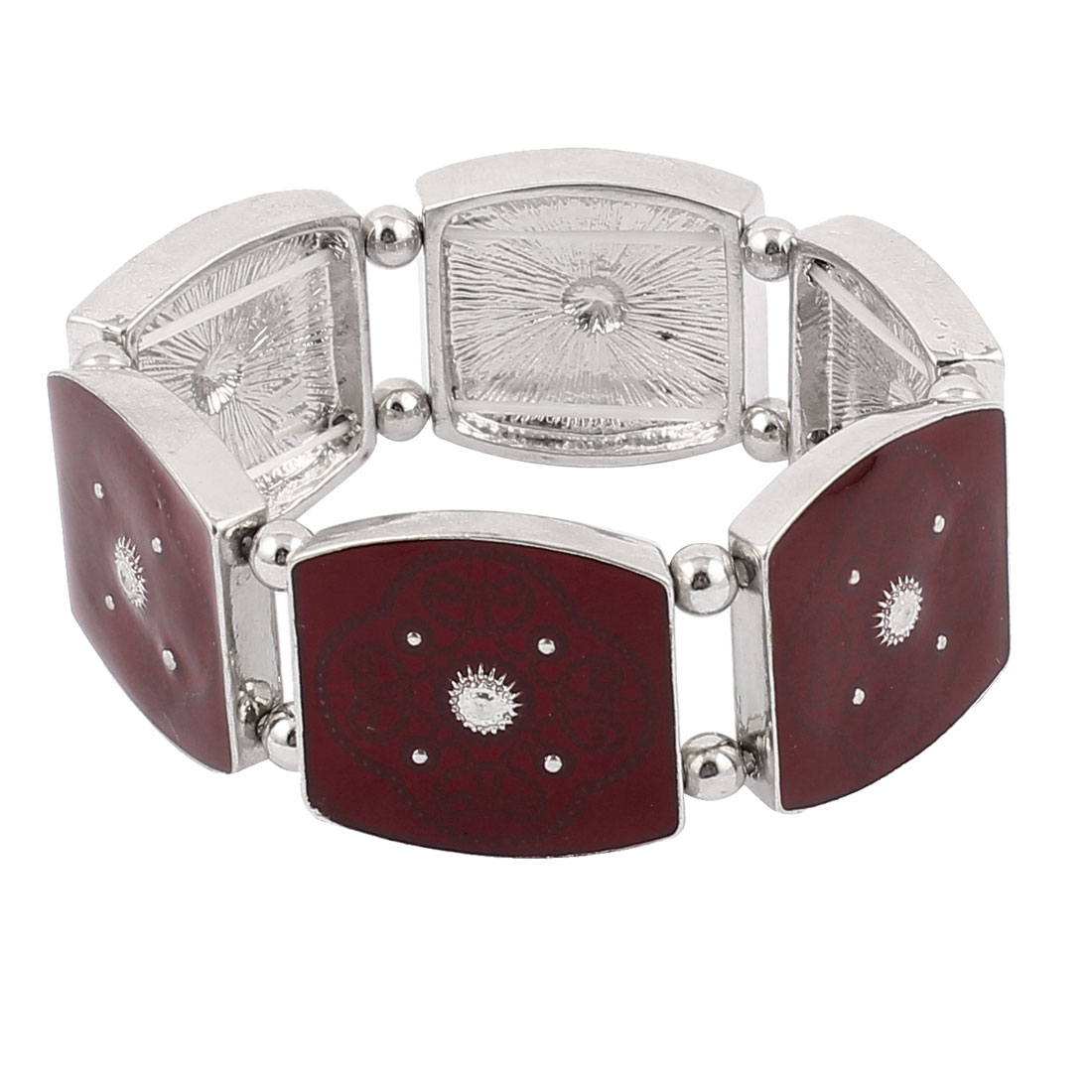 Silver Tone Carmine Metal Rhinestone Round Beads Rectangular Bracelet Bangle for Lady Women Men
