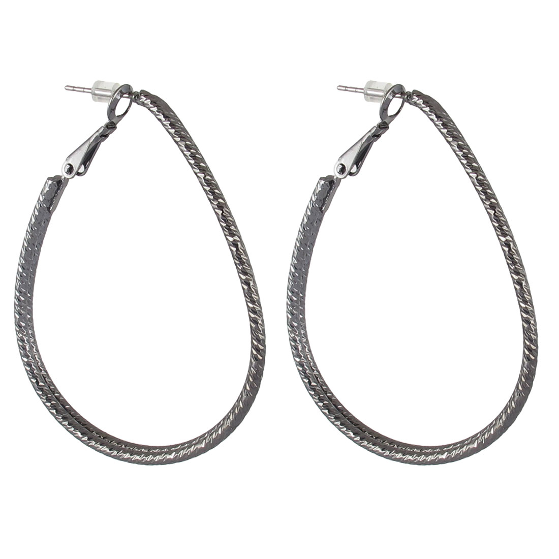 "2.2"" Dia Black Metal Elegant Stylish Narrow Ellipses Textured Edge Hoop Pierced Earrings Pair for Lady Women"