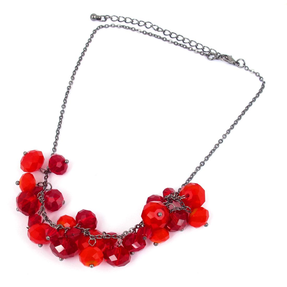 Ladies Red Plastic Beads Decor Black Metal Lobster Buckle Slim Chain Necklace w Fish Hook Earrings
