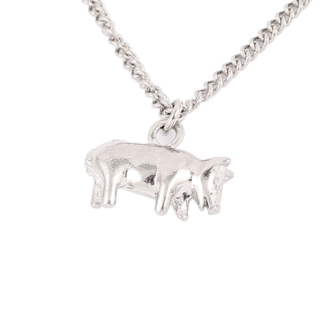 Silver Tone Metal Wolf Pendant Lobster Buckle Strip Link Slim Chain Necklace Neckwear Collar for Ladies Women