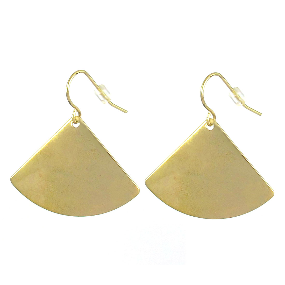 "Women Metal Solid Sectorial Shaped Dangling Pendant Hook Earrings Earbobs Gold Tone 1.2"" Length Pair"