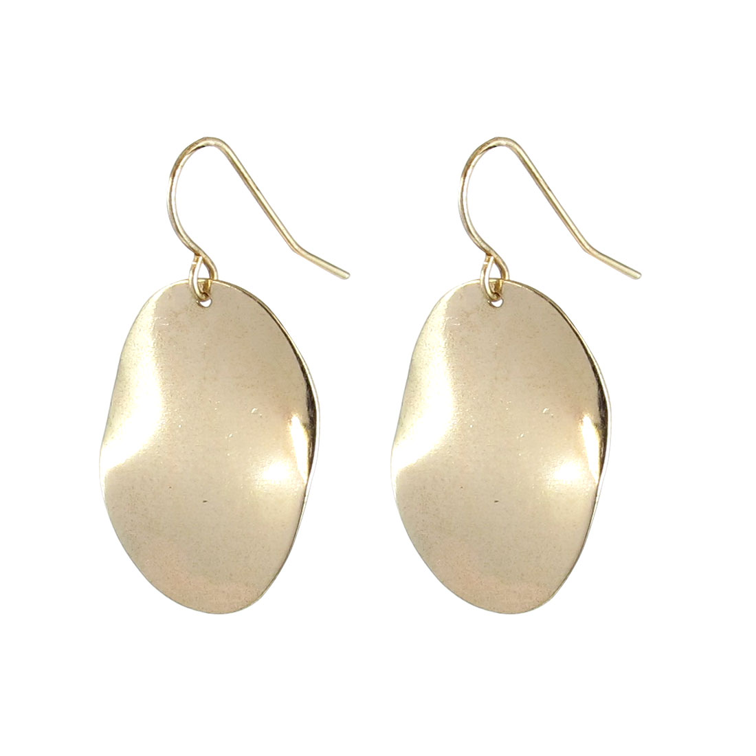 "Women Metal Oval Shape Pendant Hook Earrings Earbobs Eardrop Gold Tone 1.4"" Length Pair"