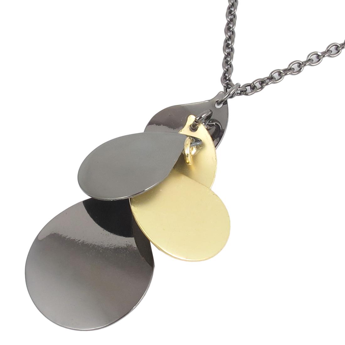 Yellow Black Metal Waterdrop Shape Pendants Lobster Buckle Strip Link Chain Necklace Neckwear Collar for Ladies Women