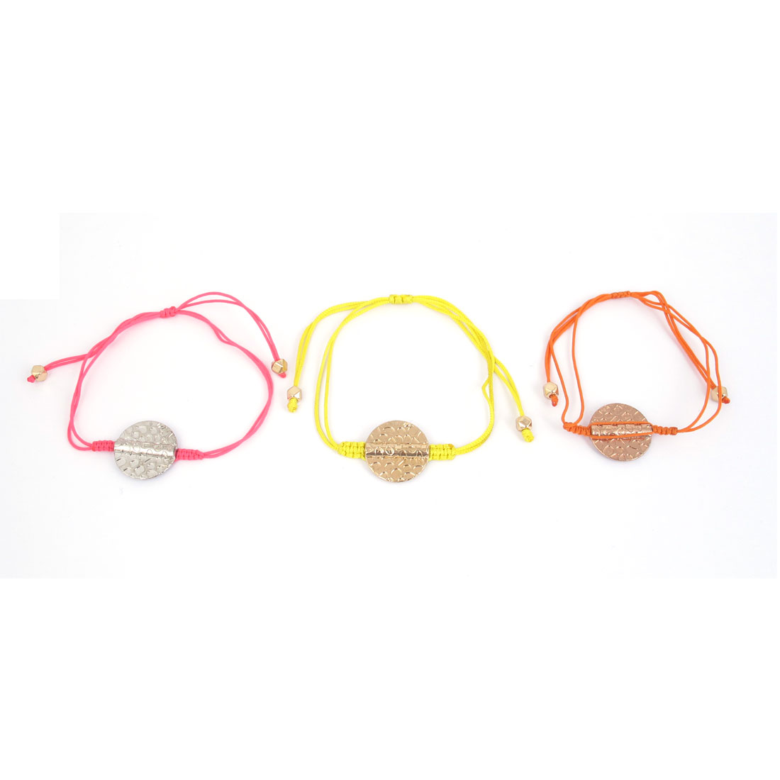Girls Ladies Nylon String Hand Knitting Fibre Braid Wristband Round Circle Decor Bracelet Orange Pink Yellow 3 Pcs