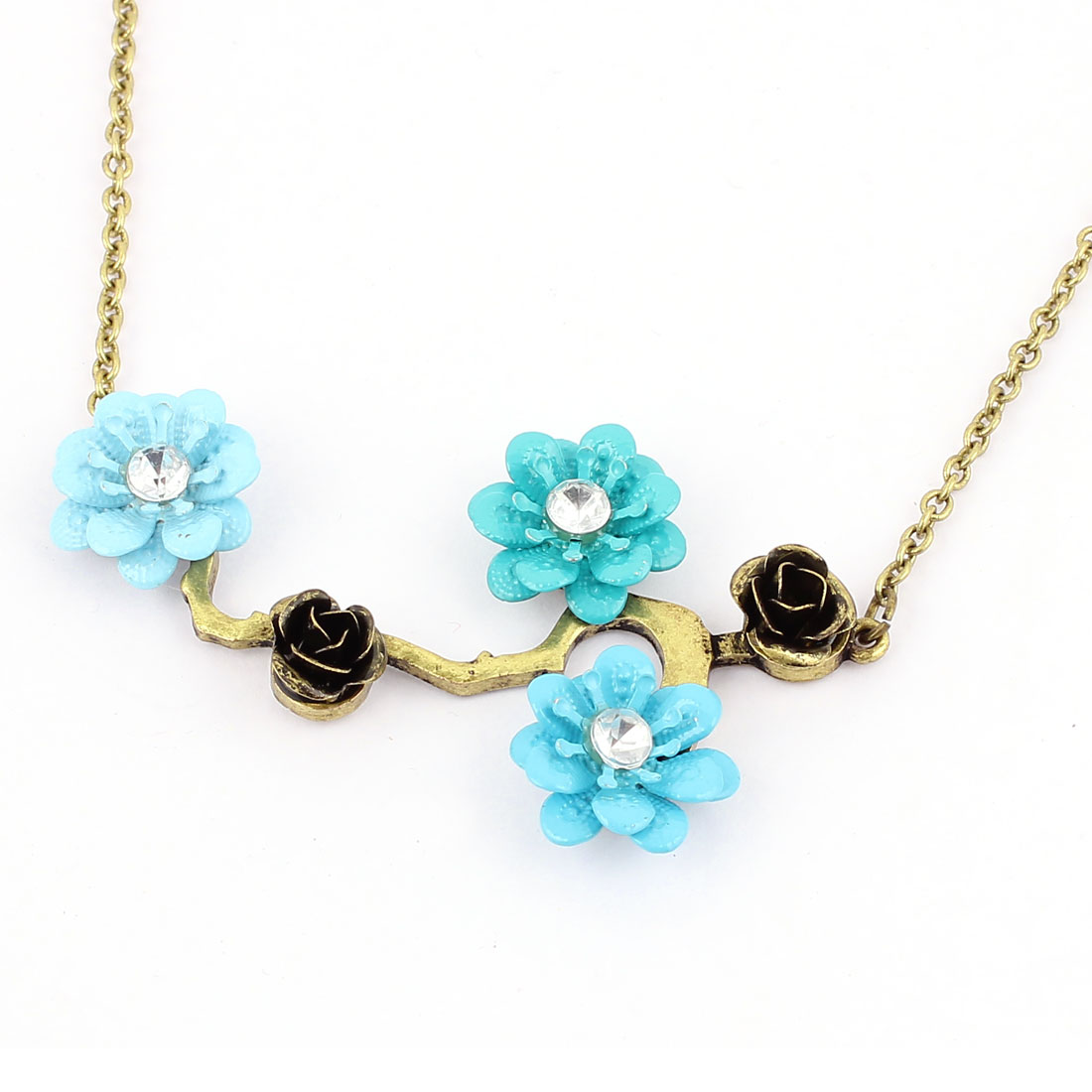 Tricolor Plastic Rhinestones Decor Metal Flowers Shape Design Lobster Buckle Strip Link Chain Necklace Neckwear Collar for Ladies