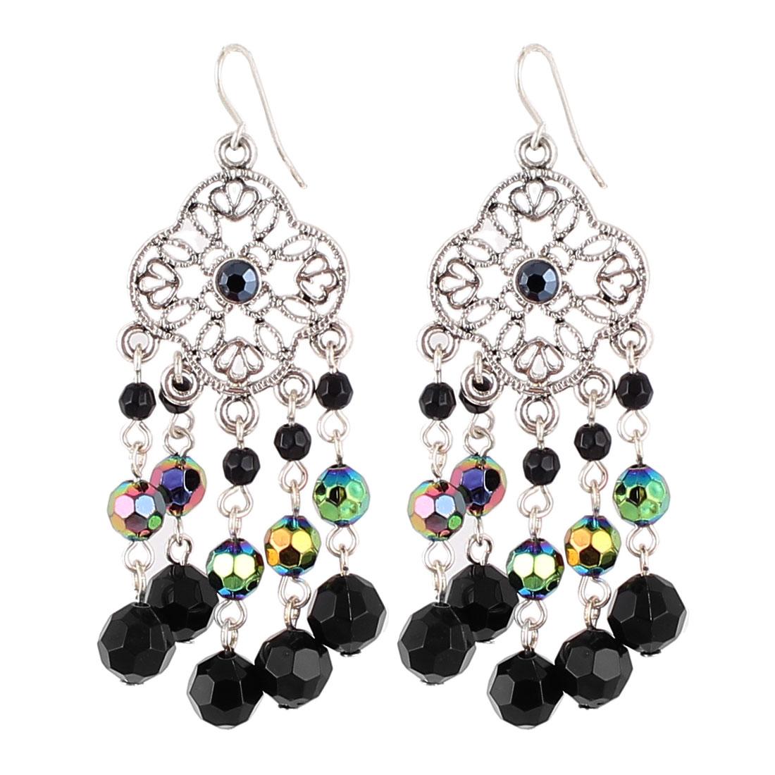 "2"" Length Silver Tone Black Plastic Beads Pendant Vintage Style Metal Fish Hook Earrings Earbob Pair for Lady Women"