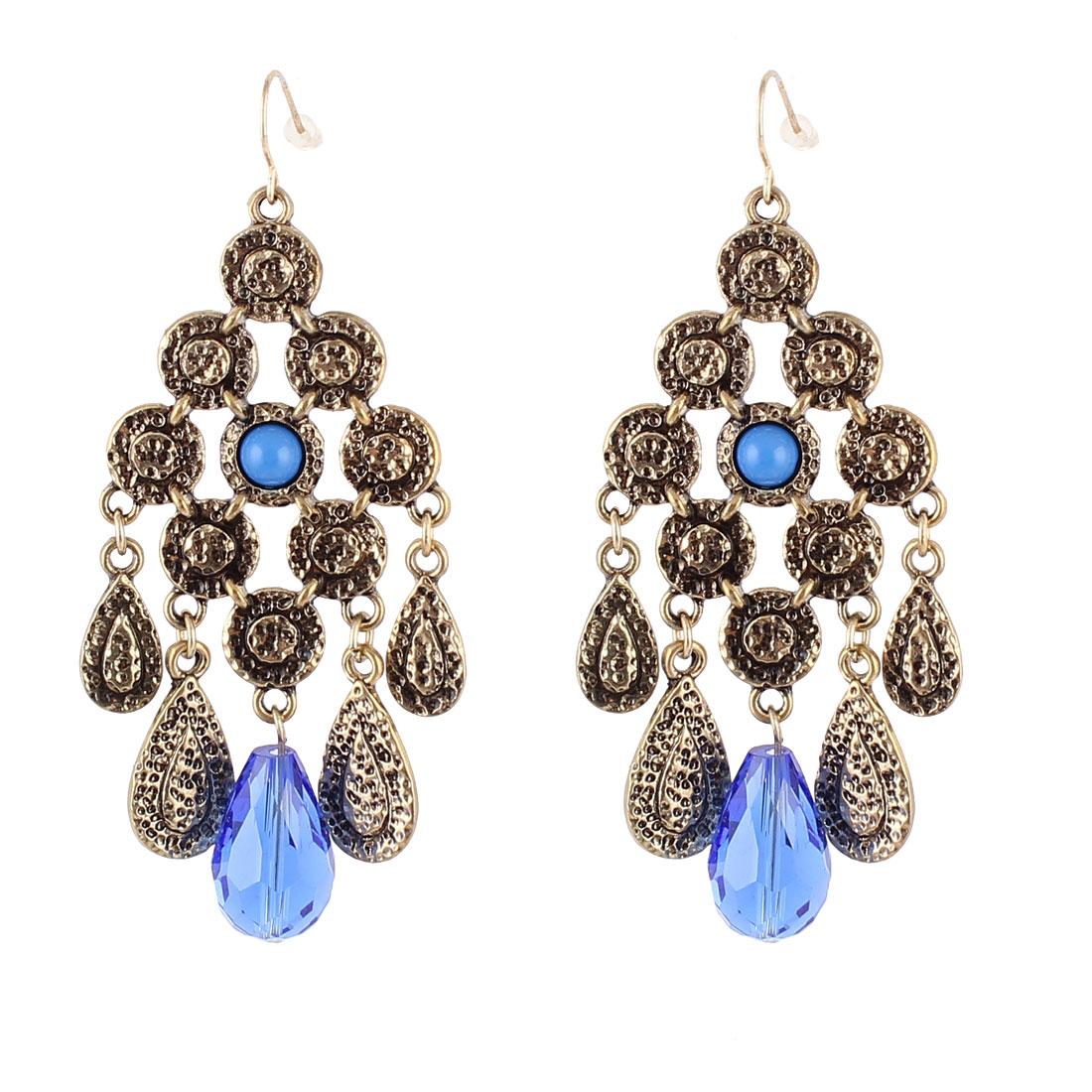 "Woman Blue Plastic Rhinestone Pendant Rhombus Shape Metal Fish Hook Earrings Earbob Eardrop Bronze Tone 3"" Length Pair"