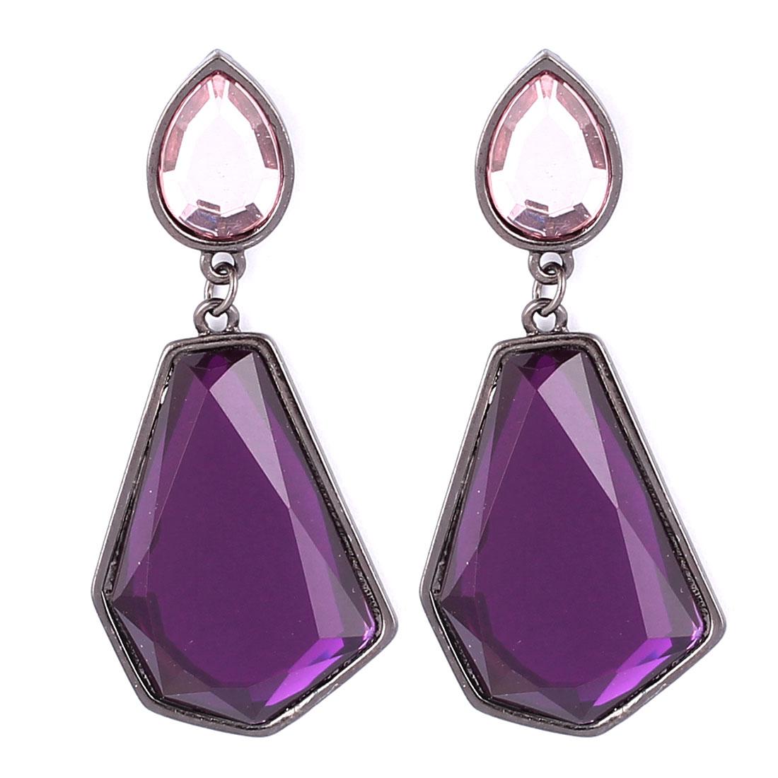 Women Plastic Rhinestone Inlaid Ornament Polygon Shape Pendant Metal Stud Earrings Ear Pin Nail Black Purple Pair