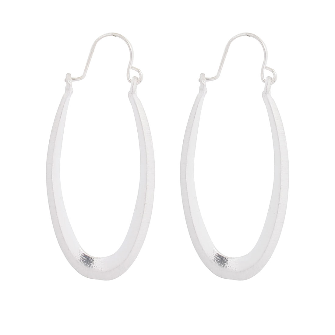 "2"" Dia Silver Tone Metal Smooth Edge Oval Circle Pierced Hoop Earrings Pair for Lady Women"
