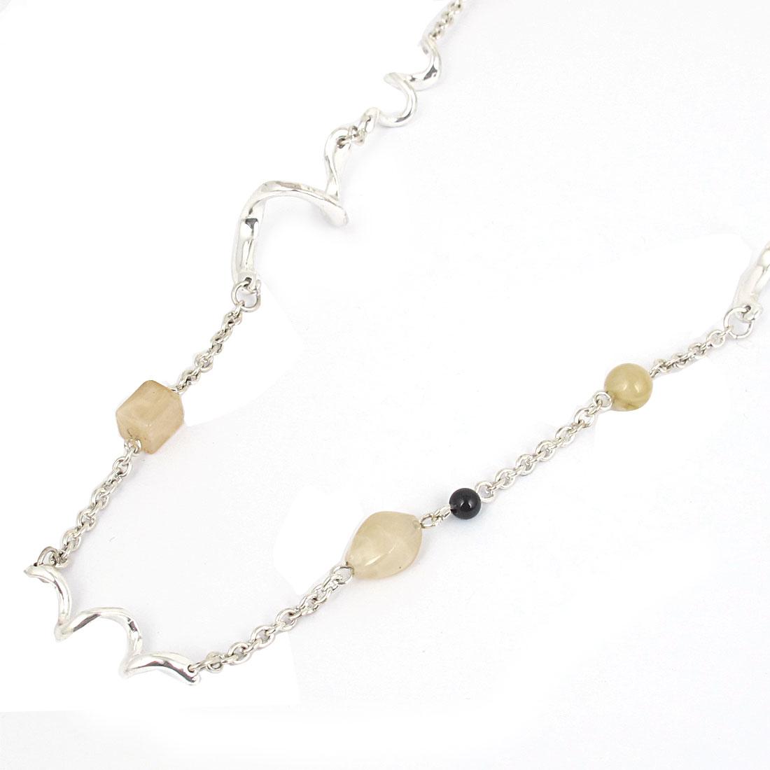 Women Plastic Beads Metal Spirals Design Lobster Buckle Strip Link Chain Necklace Neckwear Collar Silver Tone Beige