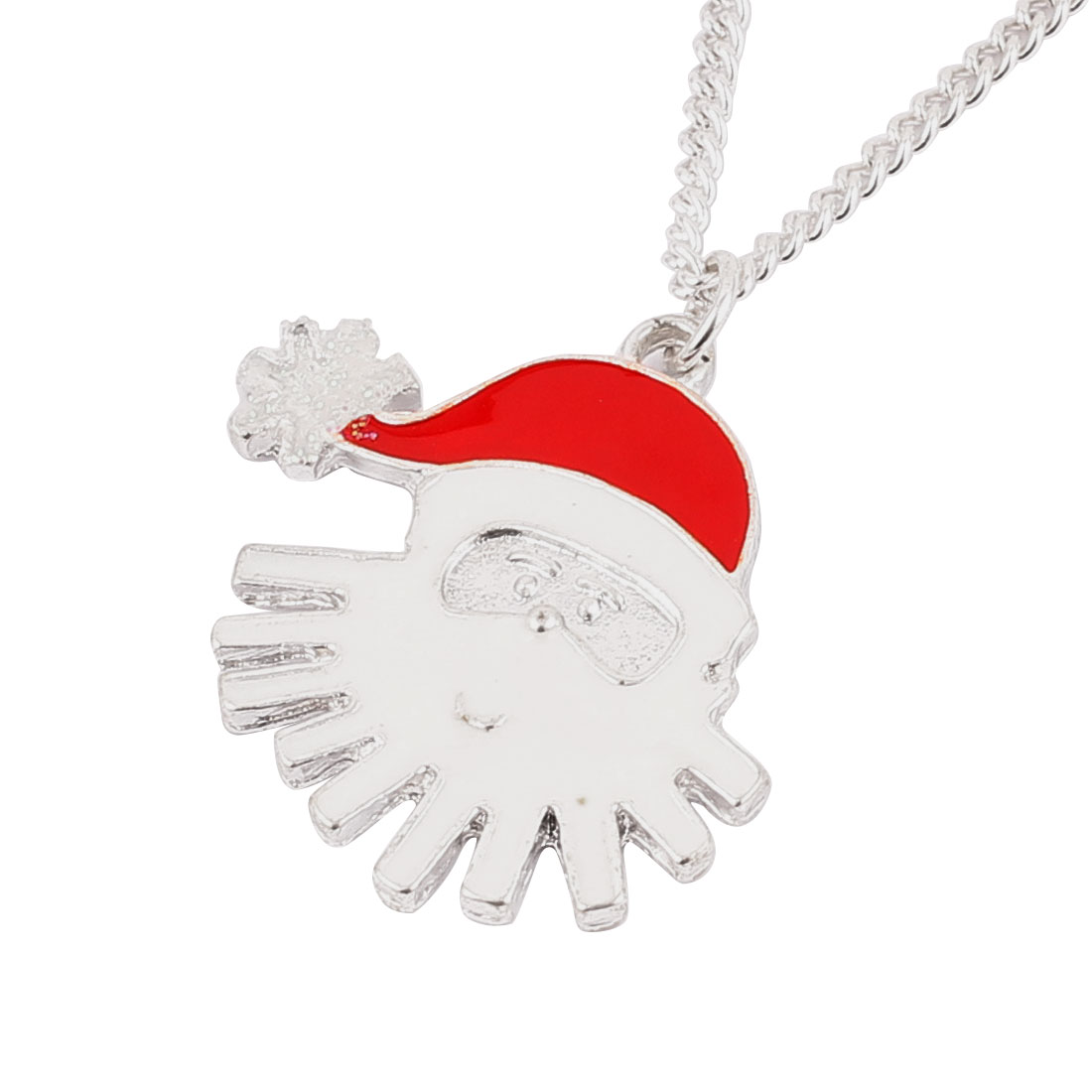 Silver Tone Red Metal Father Christmas Detail Pendant Lobster Buckle Strip Link Slim Chain Necklace Neckwear Collar for Ladies Women