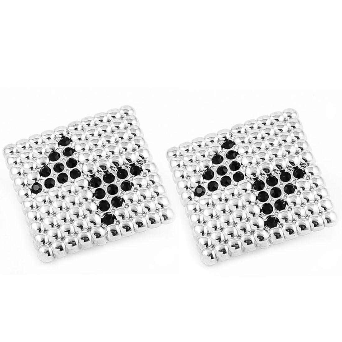 Pair Black Silver Tone Plastic Beads Inlaid Texture Rhombus Stud Earrings Ear Pin Nail for Lady