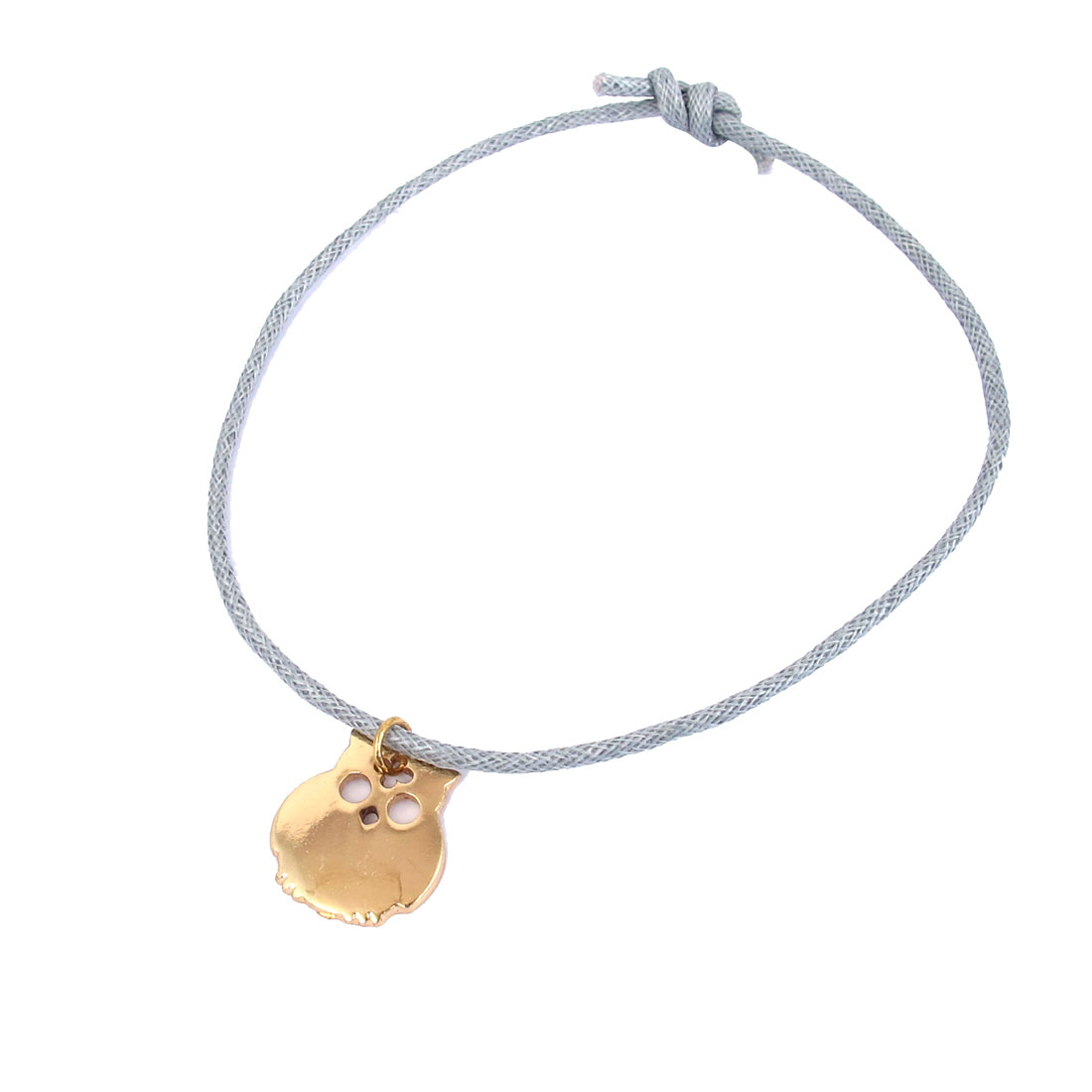 Women Ladies Gold Tone Metal Owl Shape Pendant Self Tie Style Drawstring Nylon Strip Wrist Bracelet Gray