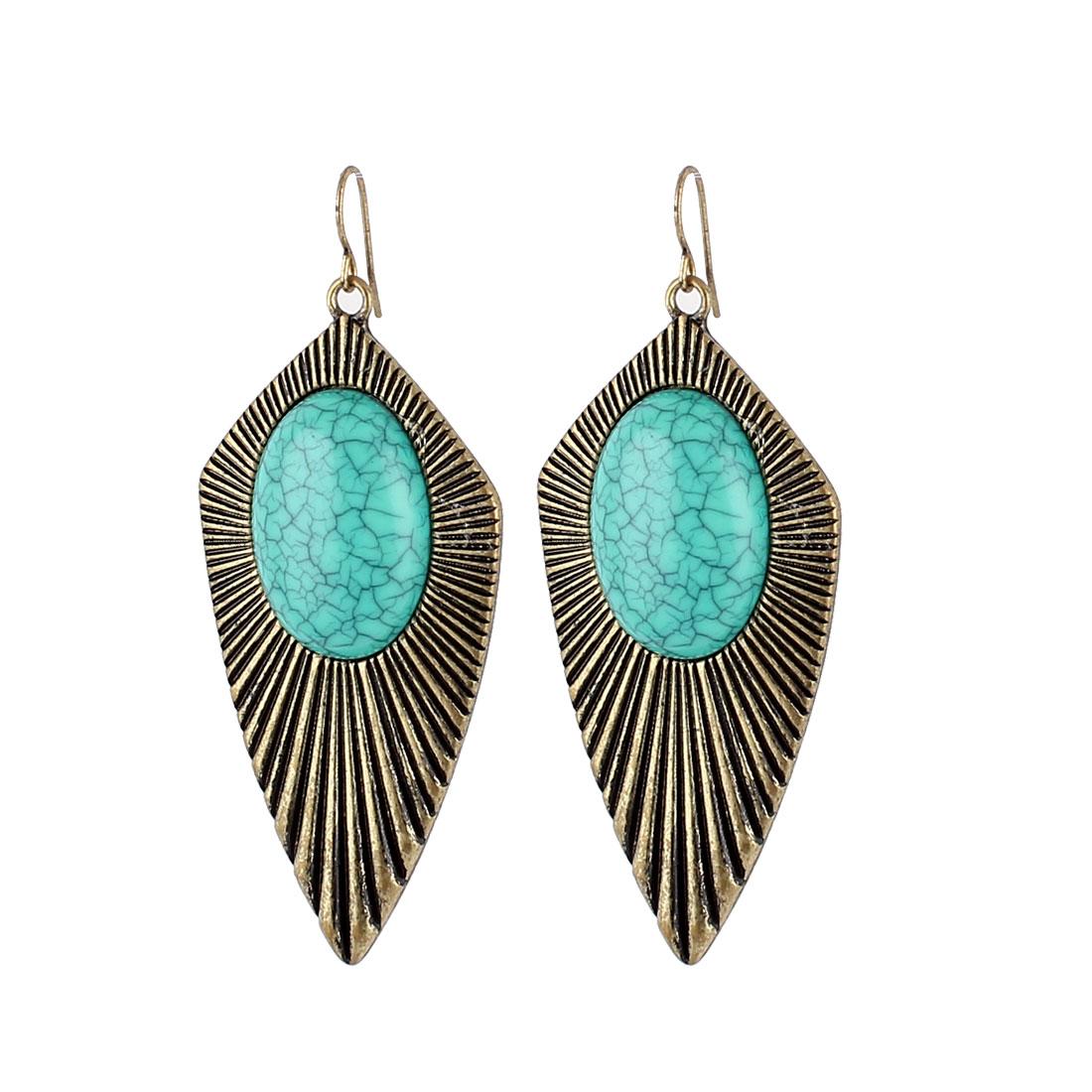 "Women Faux Semicircle Cyan Stone Inlaid Waterdrop Shape Pendant Metal Fish Hook Earrings Earbob Bronze Tone 2.8"" Length Pair"