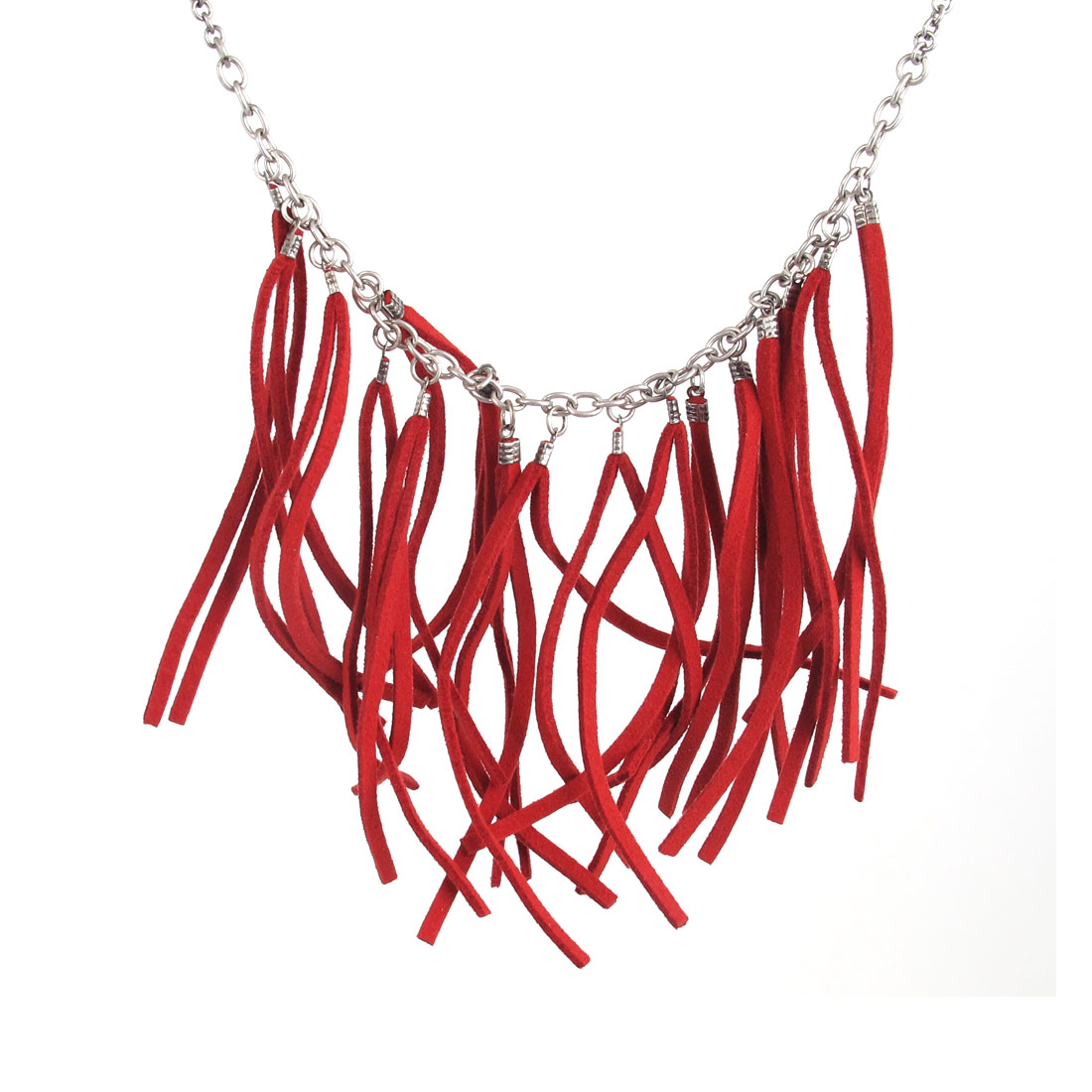 Ladies Dark Red Nylon String Design Pendant Metal Chain Necklace Neckwear Collar Silver Tone 80CM Girth