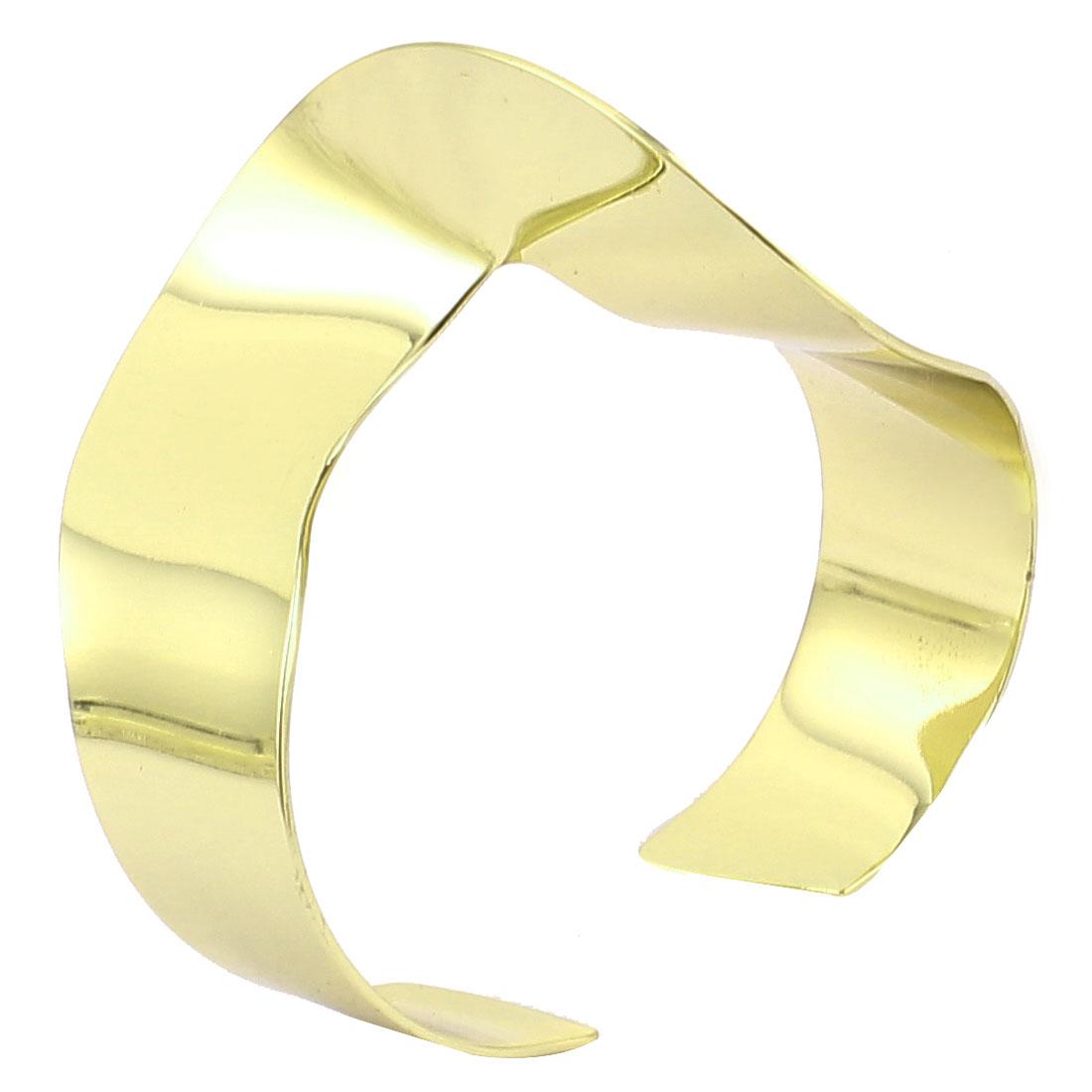 Unisex Copper Tone Metal Wide Cuff Twisted Shape Wrist Decoration Bracelet Bangle for Lady Women Men
