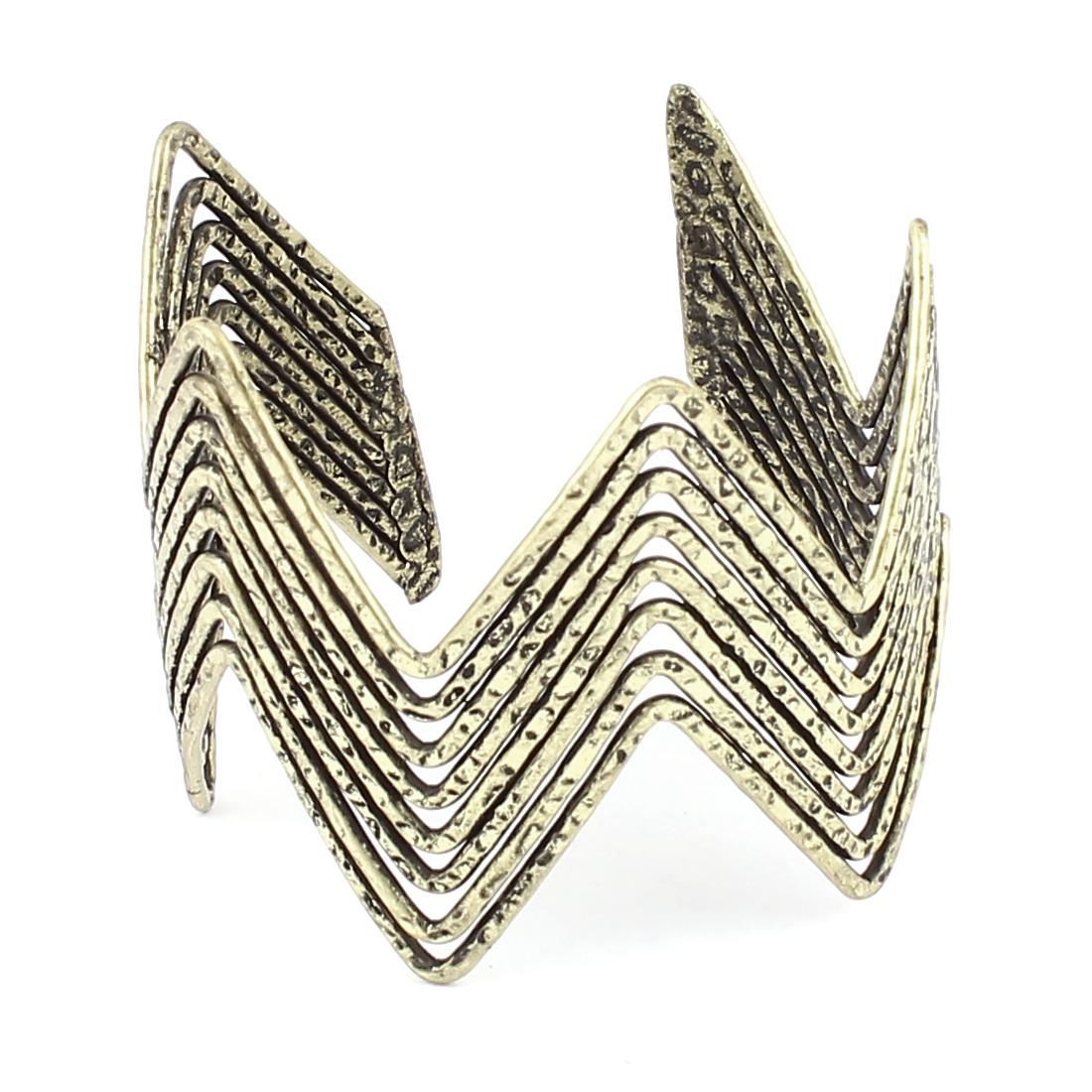 "Unisex 2.2"" Dia Bronze Tone Metal Half Open Style Wrist Decoration Bracelet Bangle for Lady Women Men"