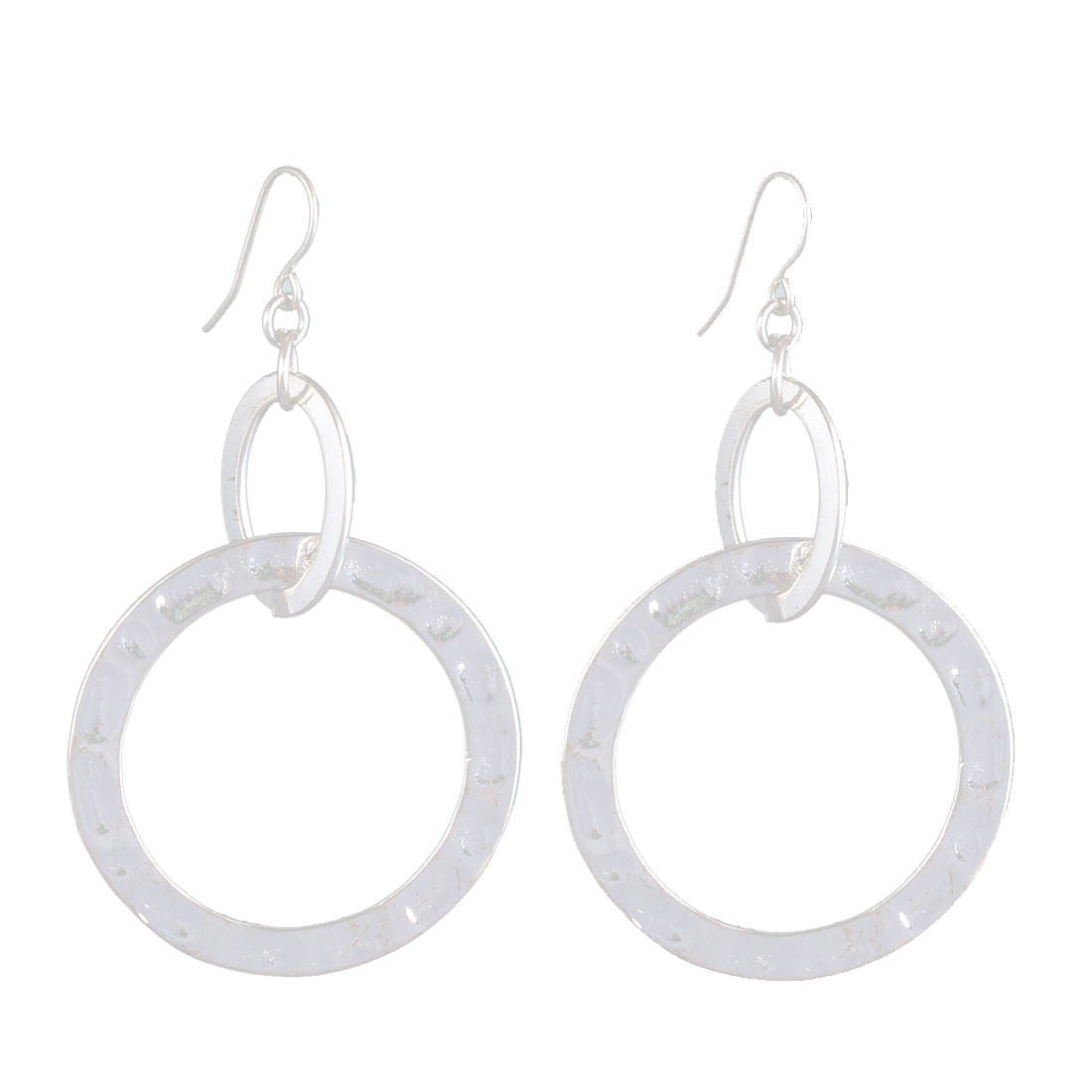 "2.8"" Length Silver Tone Metal Interlink Hollow Out Circle Dangling Pendant Hook Earrings Earbobs Pair for Lady Women"