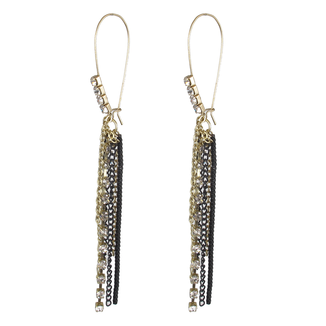 "Women Plastic Crystals Decor Metal Chain Tassels Pendant Fish Hook Earrings Earbob Eardrop Copper Tone Black 5"" Length Pair"