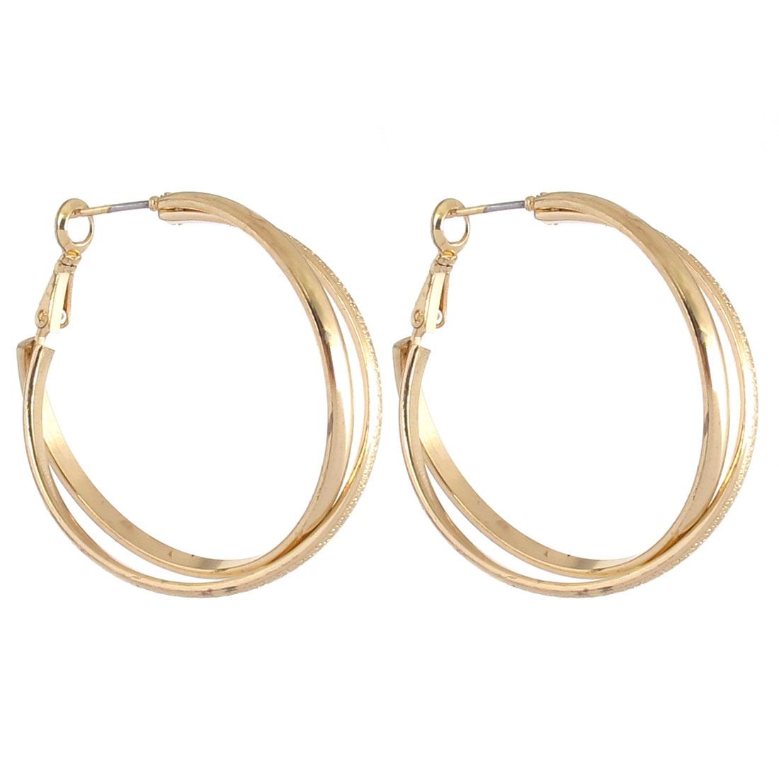 """1.6"""" Dia Gold Tone Metal Narrow Cross Circles Pierced Hoop Earrings Pair for Lady Women"""