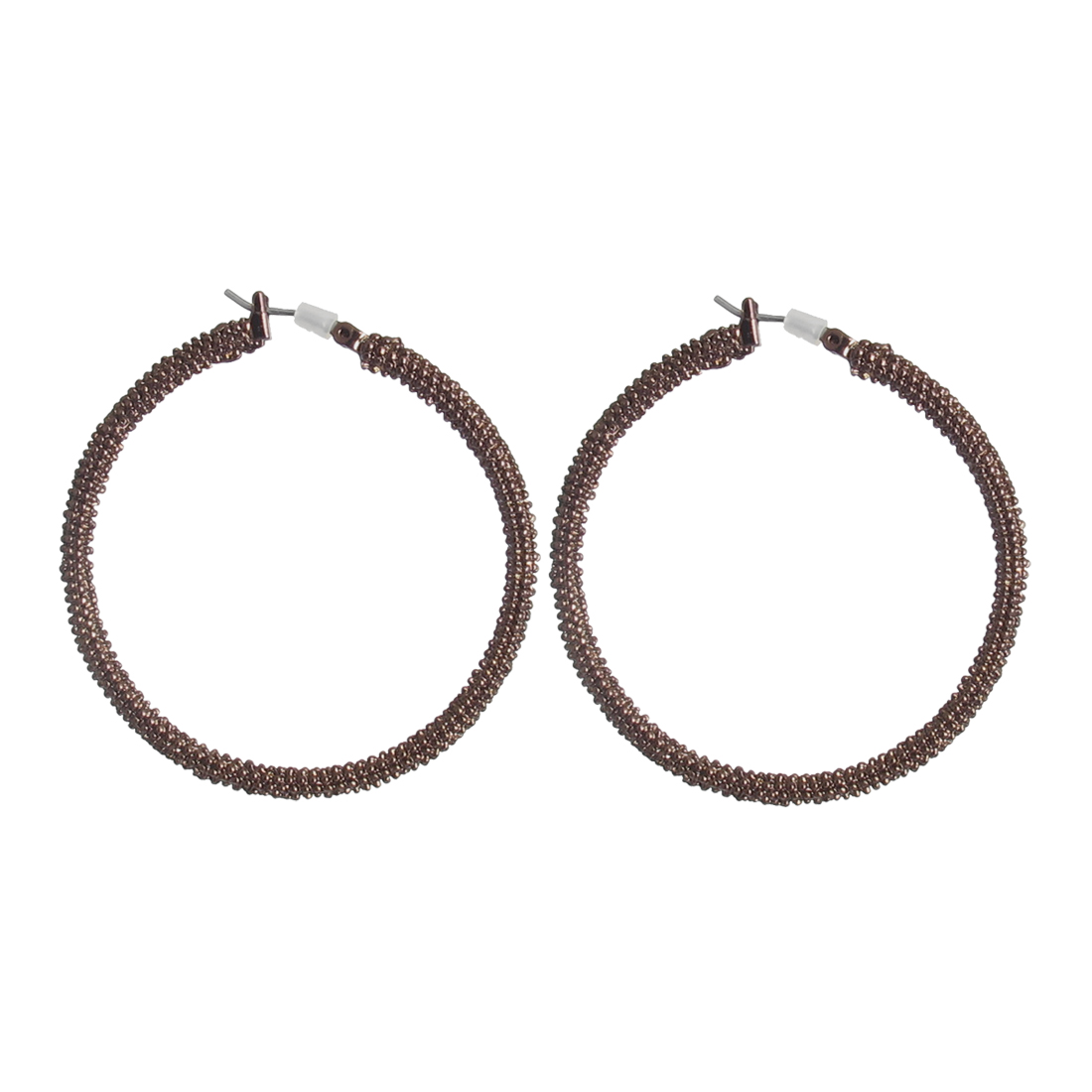"1.8"" Dia Coffee Color Metal Edge Textured Circle Hoop Pierced Earrings Pair for Lady Women"