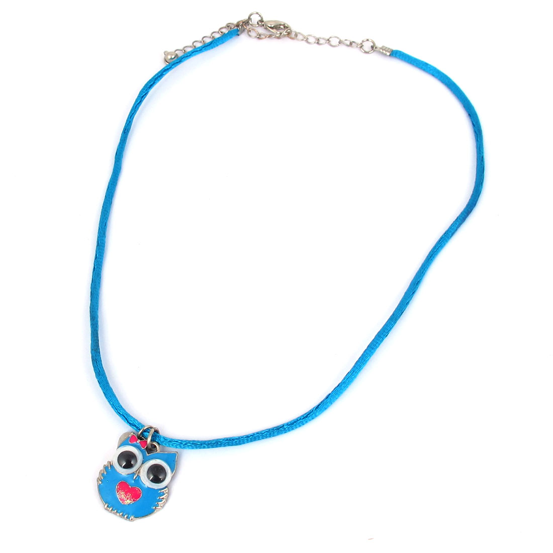 Girls Ladies Black Eyes Metal Owl Design Pendant Lobster Buckle Nylon String Necklace Neckwear Collar Sky Blue