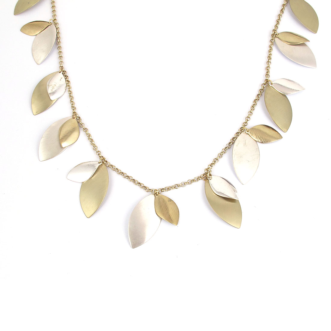 Ladies Metal Oval Leaves Shape Pendant Lobster Buckle Strip Link Slim Chain Necklace Neckwear Collar Gold Tone White