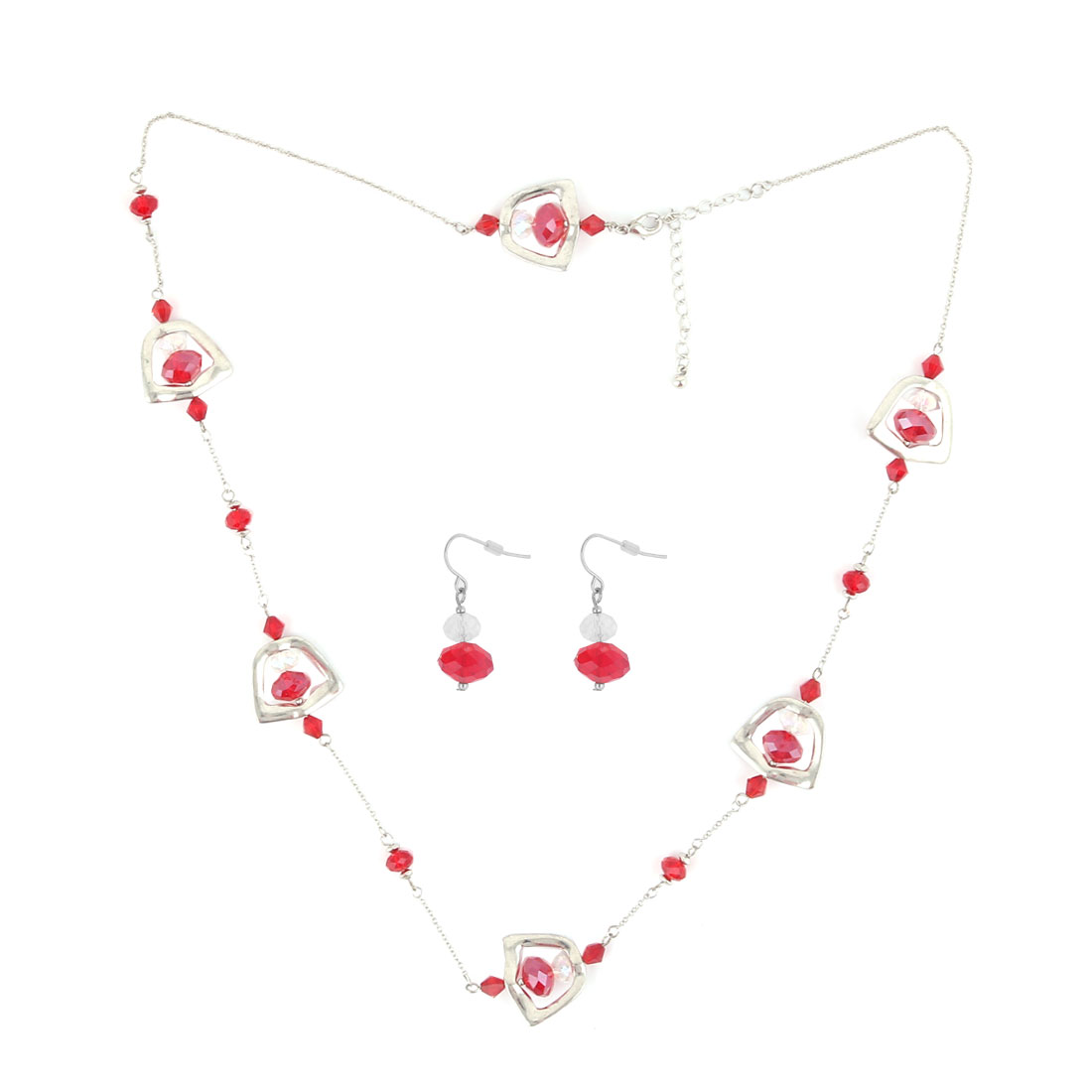 Ladies Red Plastic Beads Decor Shield Design Silver Tone Metal Lobster Buckle Strip Link Slim Chain Necklace w Fish Hook Earrings