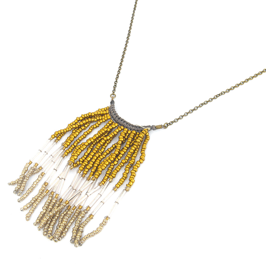 Lady Dimgray Nylon Cord Plastic Beads Tassels Design Pendant Metal Lobster Buckle Bronze Tone Strip Slim Chain Necklace Neckwear Collar Dark Yellow
