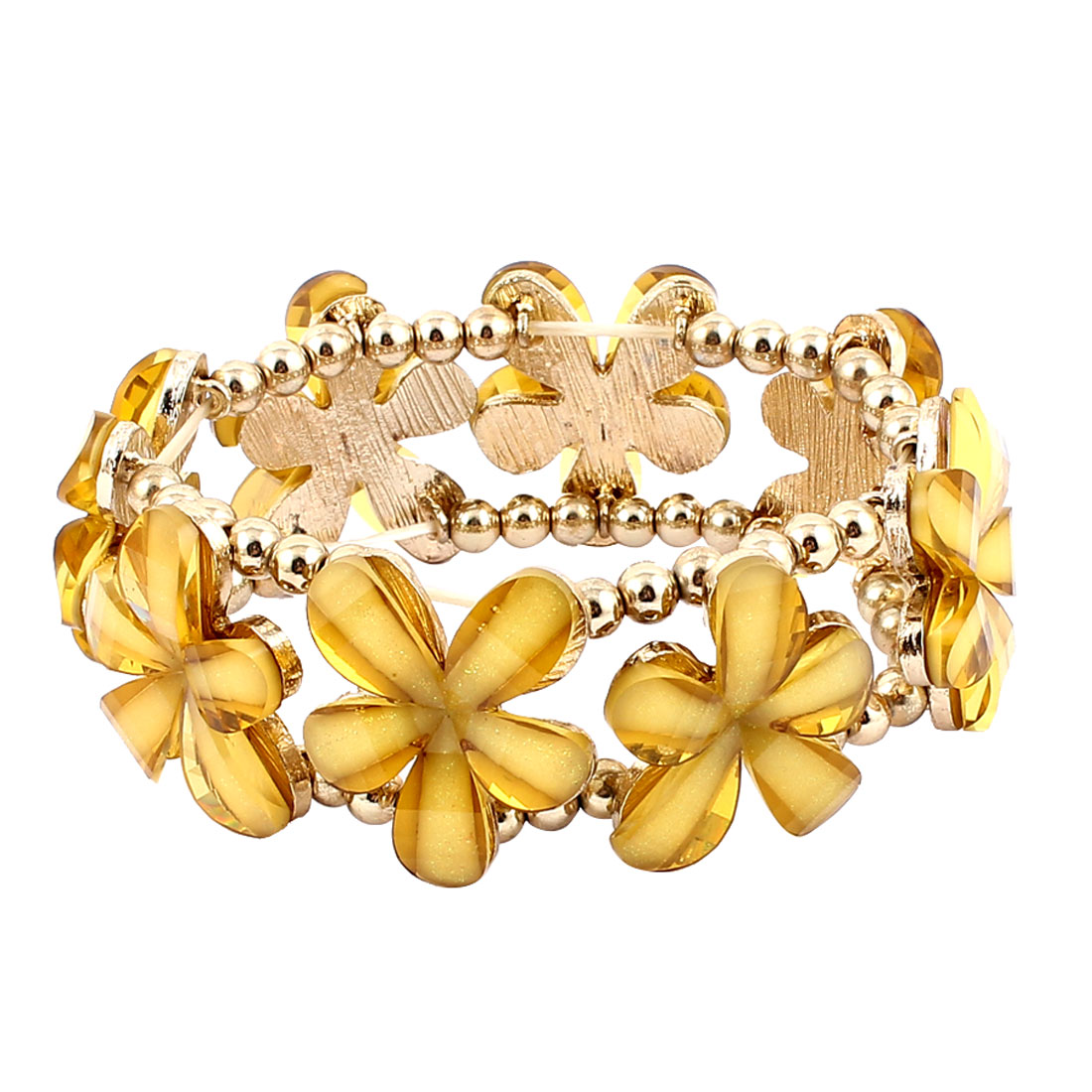Yellow Copper Tone Plastic Flowers Beads Detail Double Elastic Band Wrist Decoration Metal Bracelet Bangle for Ladies Women