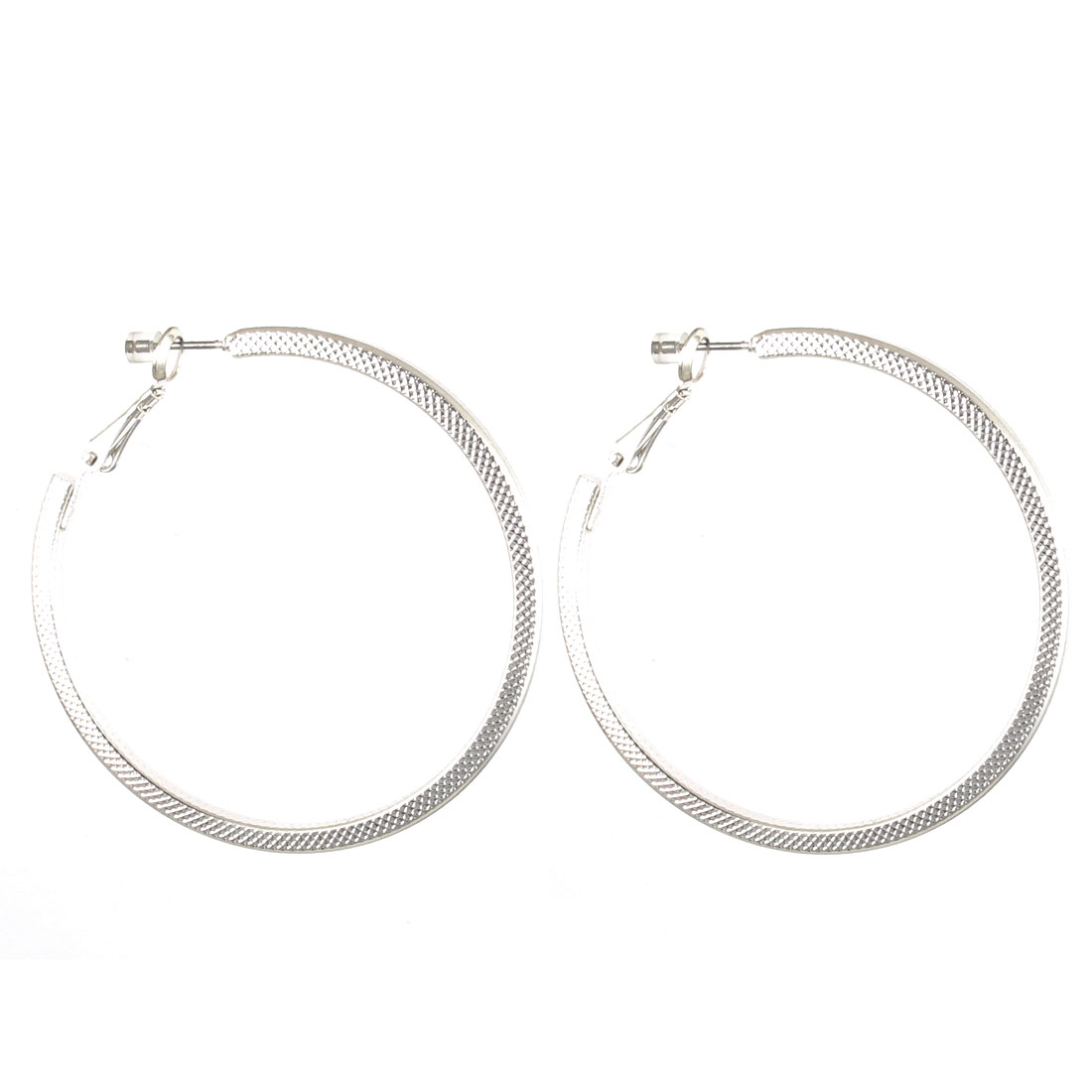 "2"" Dia Silver Tone Metal Edge Textured Circle Hoop Pierced Earrings Pair for Lady Women"