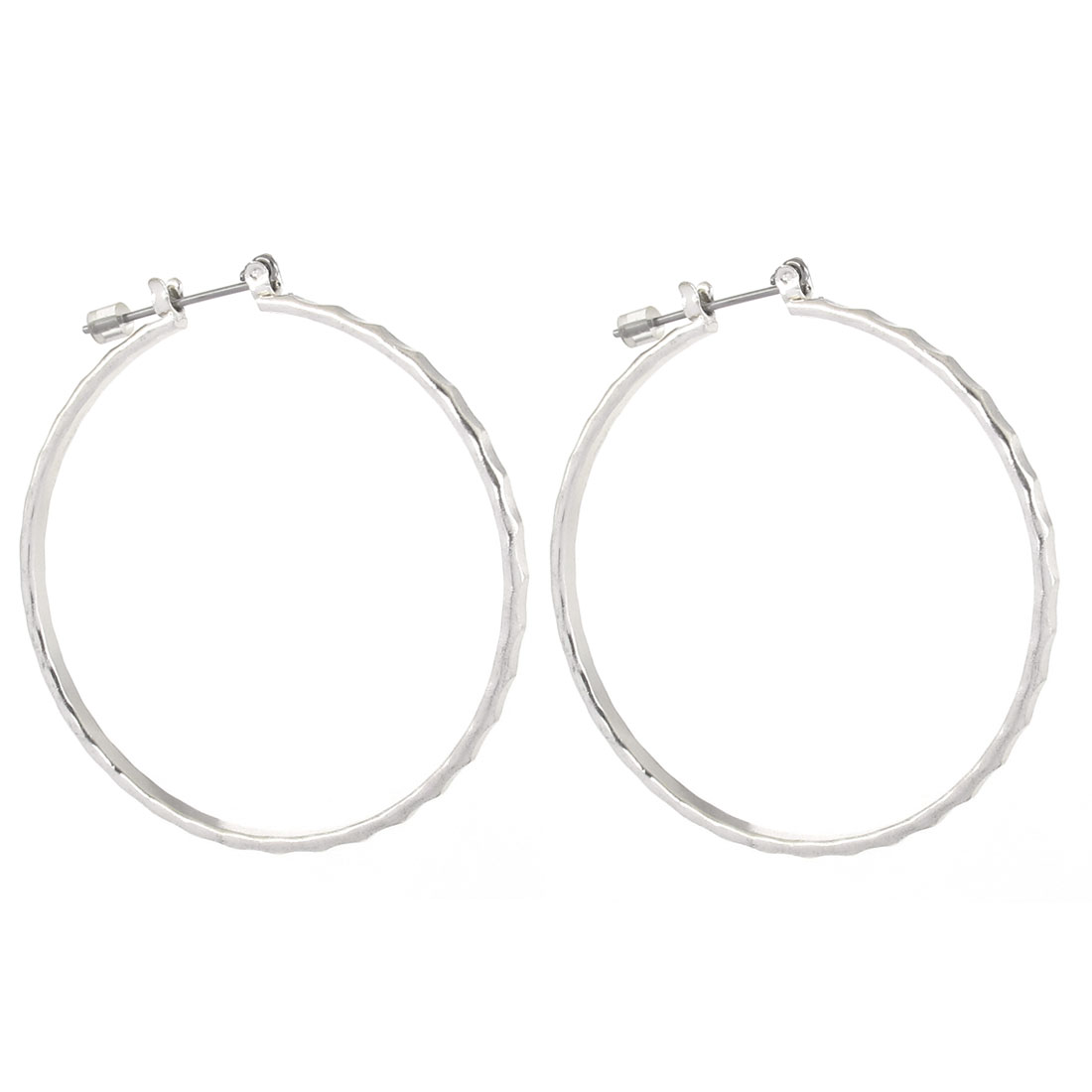 "2"" Dia Silver Tone Metal Edge Textured Circle Hoop Pierced Earrings Pair for Lady Women"