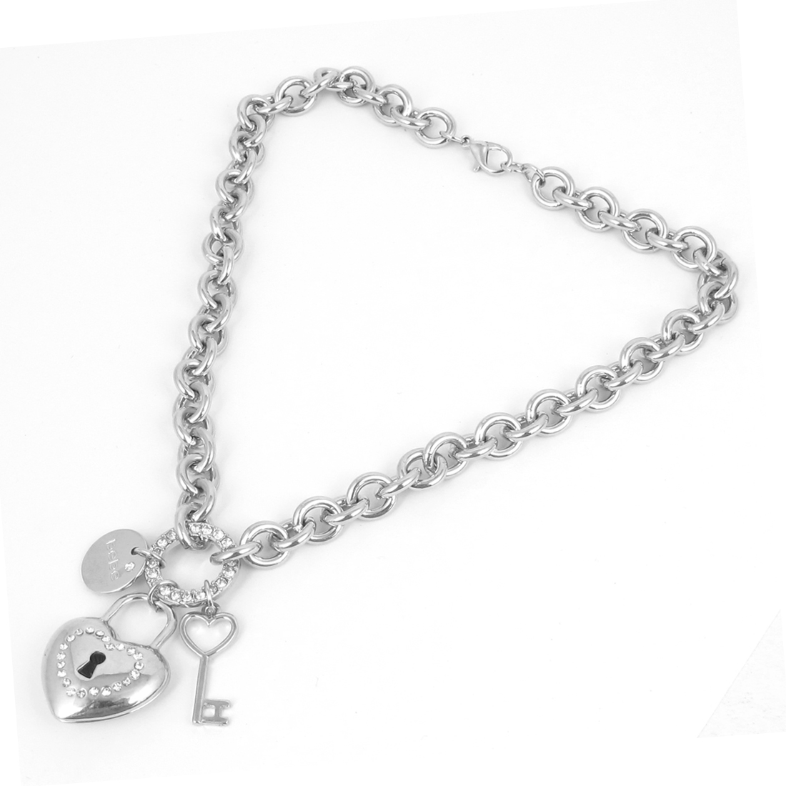 Metal Key Heart Shape Lock Palstic Crystals Inlaided Circle Design Pendant Lobster Clasp Silver Tone Pet Dog Decor Collar Necklace