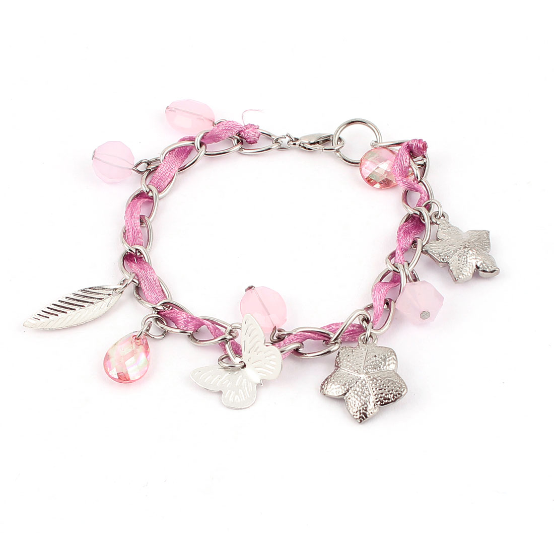 Silver Tone Pink Plastic Rhinestone Leaf Flowers Detail Wrist Decoration Metal Bracelet Bangle for Lady Women