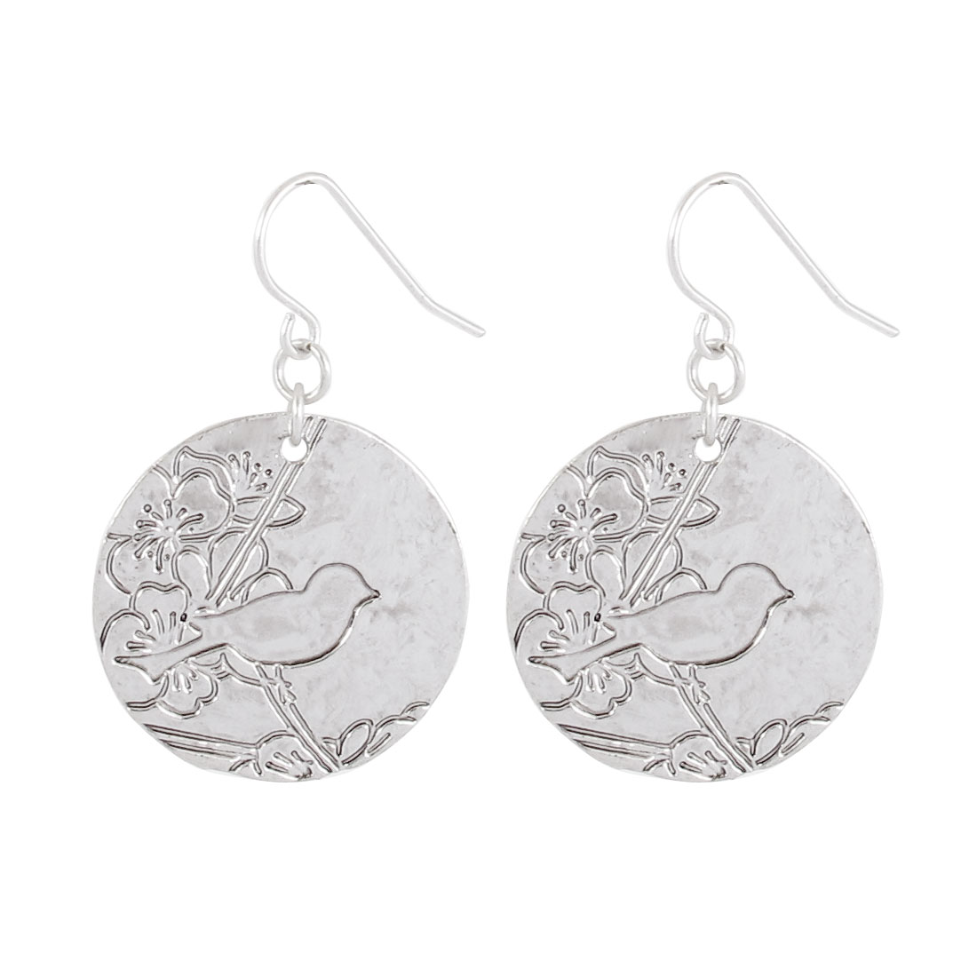 "Women Metal Bird Pattern Coin Shape Pendant Hook Earrings Earbobs Eardrop Silver Tone 1.6"" Length Pair"