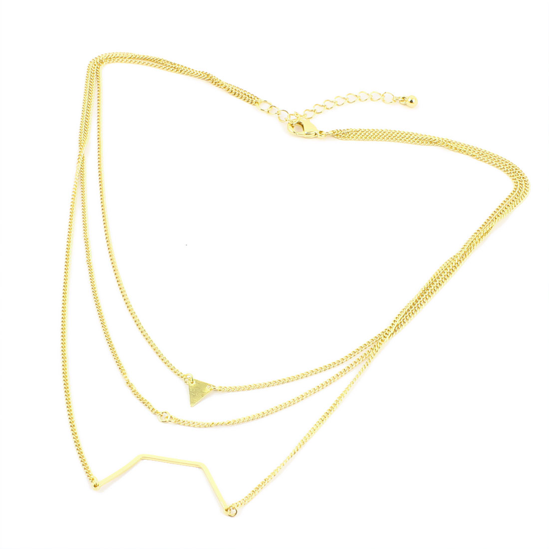 2pcs Gold Tone Metal Lightweight Lobster Buckle Strip Link Slim Chain Necklaces Neckwear Collar for Ladies Women