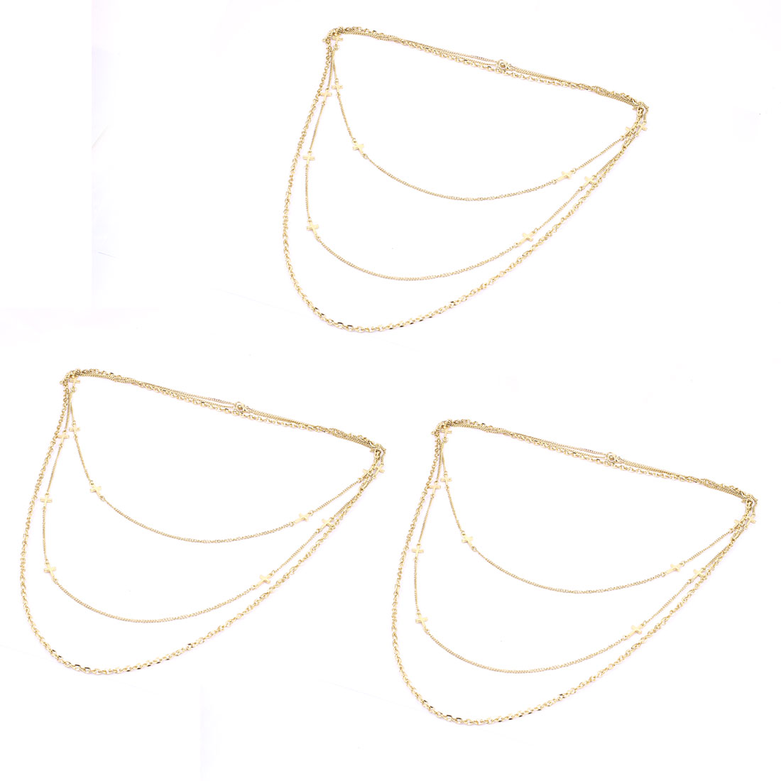 3 Pcs Gold Tone Metal Lobster Buckle Strip Link Slim Chain Necklaces Neckwear Collar for Ladies Women