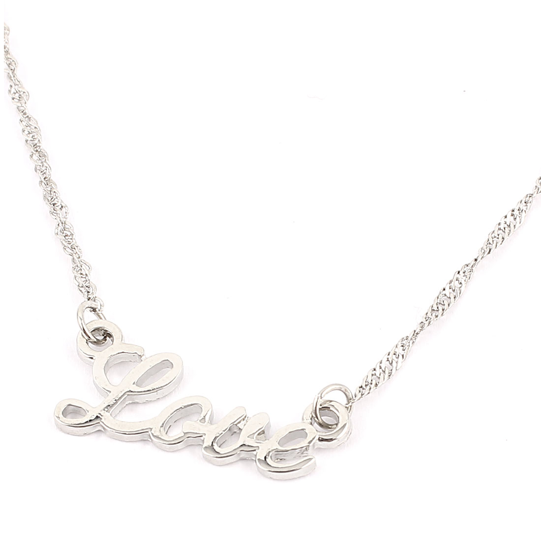 Ladies Women Metal Word LOVE Design Pendant Lobster Buckle Strip Link Slim Chain Necklace Neckwear Collar Silver Tone