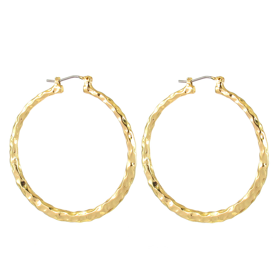 "1.8"" Dia Gold Tone Metal Narrow Edge Textured Circle Hoop Pierced Earrings Pair for Lady Women"