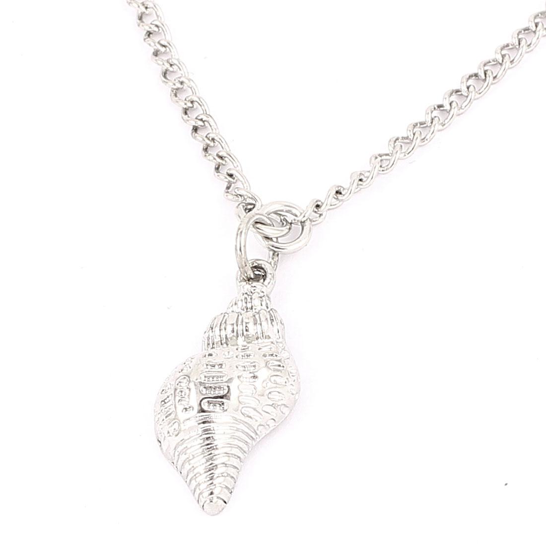 Ladies Women Metal Conch Design Pendant Lobster Buckle Strip Link Slim Chain Necklace Neckwear Collar Silver Tone