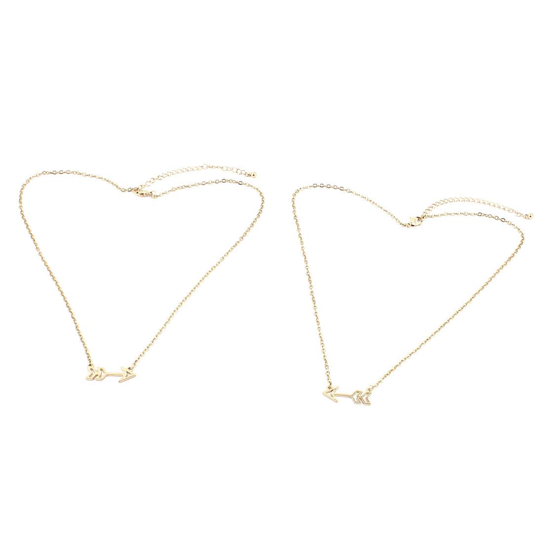 2 Pcs Gold Tone Metal Single Arrow Detail Lobster Buckle Strip Link Slim Chain Necklace Neckwear Collar for Ladies Women