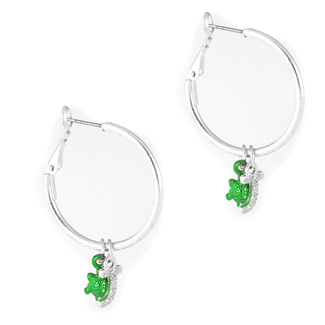 "1.2"" Dia Silver Tone Green Metal Narrow Edge Smooth Circle Running Letter Tortoise Design Hoop Pierced Earrings Pair for Lady Women"