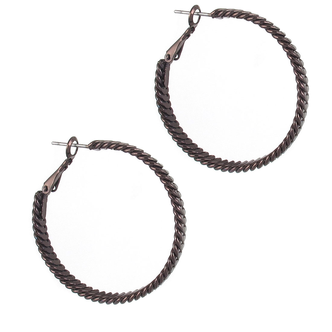 "1.6"" Dia Chocolate Color Metal Narrow Edge Textured Circle Hoop Pierced Earrings Pair for Lady Women"