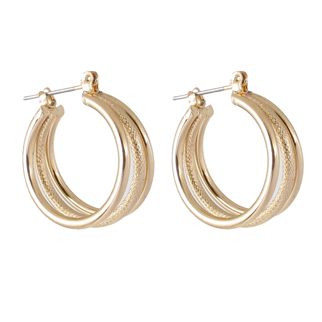 "0.8"" Dia Gold Tone Metal Narrow Circles Hoop Pierced Earrings Pair for Lady Women"