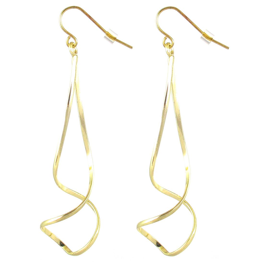 """Women Metal Hollow Out Twist Swirl Shape Dangling Pendant Hook Earrings Earbob Gold Tone2.8"""" Length Pair"""
