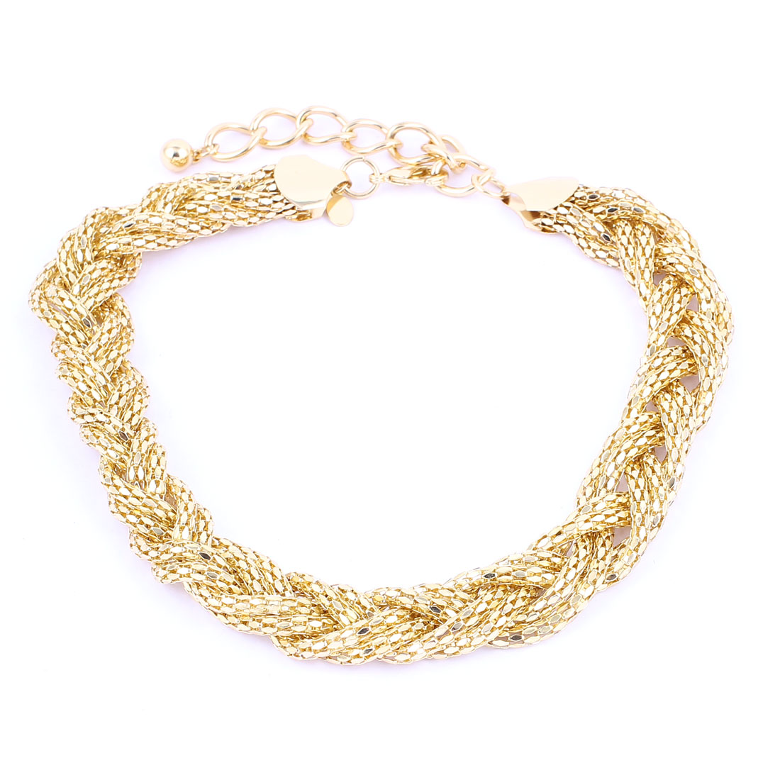 Gold Tone Metal Thick Braids Design Lobster Buckle Strip Link Chain Necklace Neckwear Collar for Ladies Women