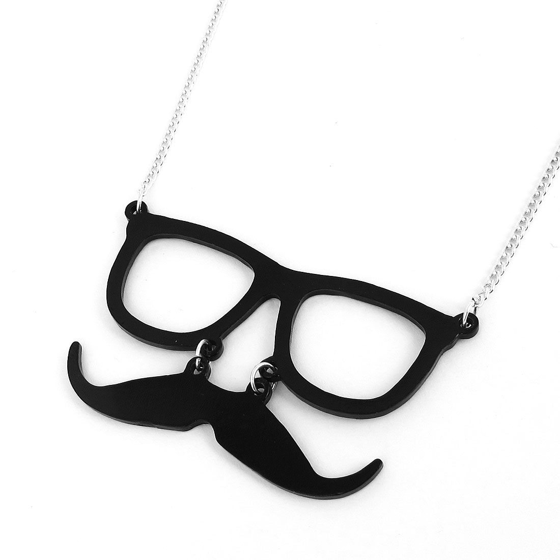 Women Metal Black Glasses Frame Shape Mustache Design Pendant Strip Link Slim Chain Necklace Neckwear Collar Silver Tone